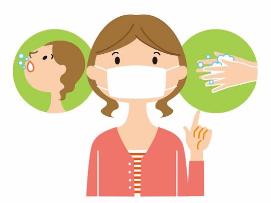 マスクをする女性 手洗い うがい