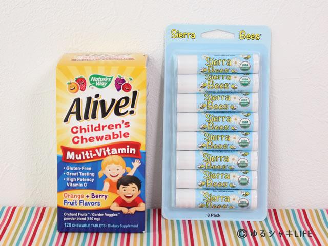 子供用マルチビタミンとリップクリーム