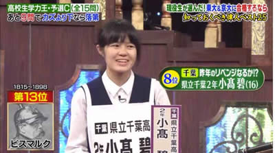 小髙碧 高校生学力王No.1決定戦2017